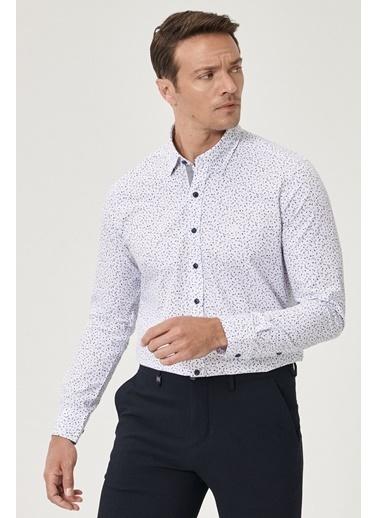 Beymen Business Slim Fit Baskılı Gömlek 4B2020200009 Beyaz